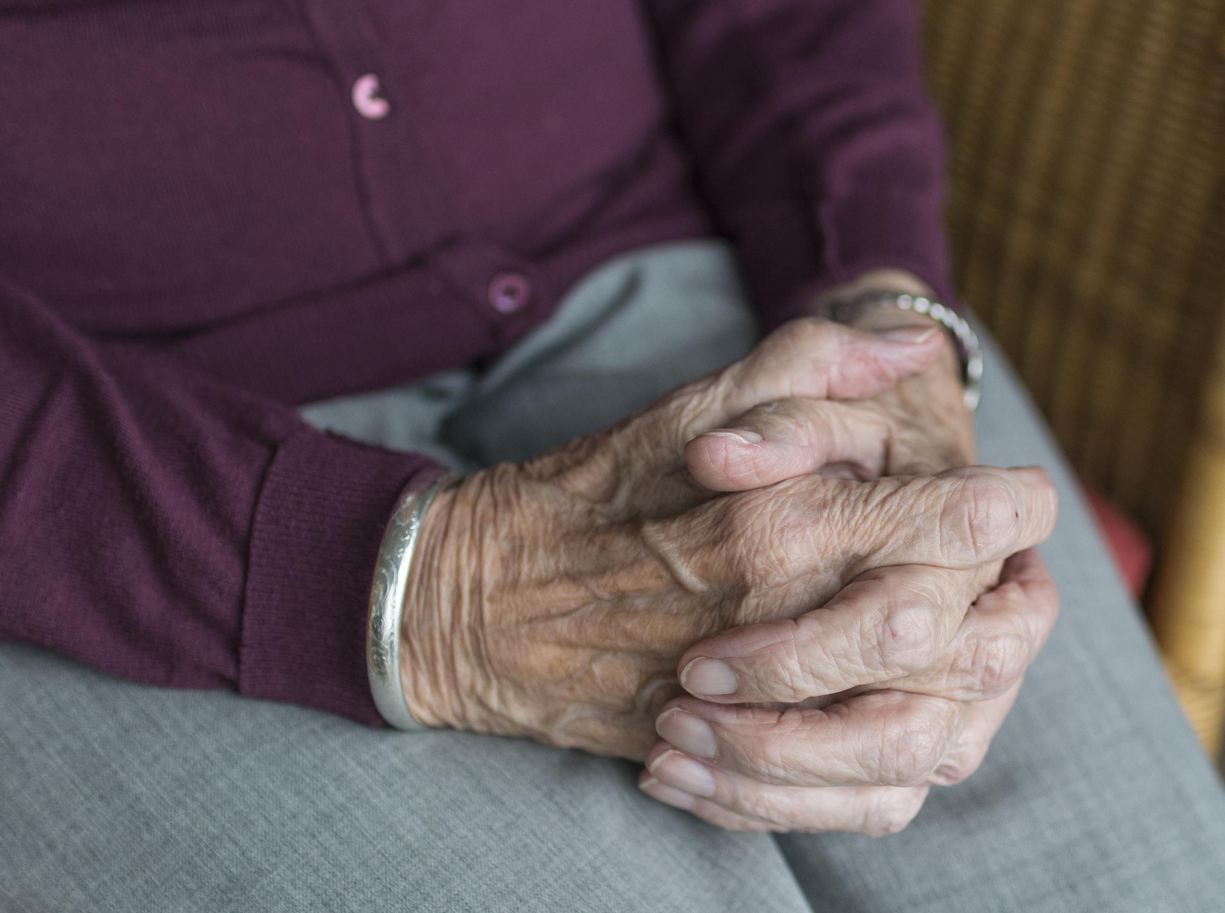 Stock picture taken from pixabay.com. An elderly woman's hands.