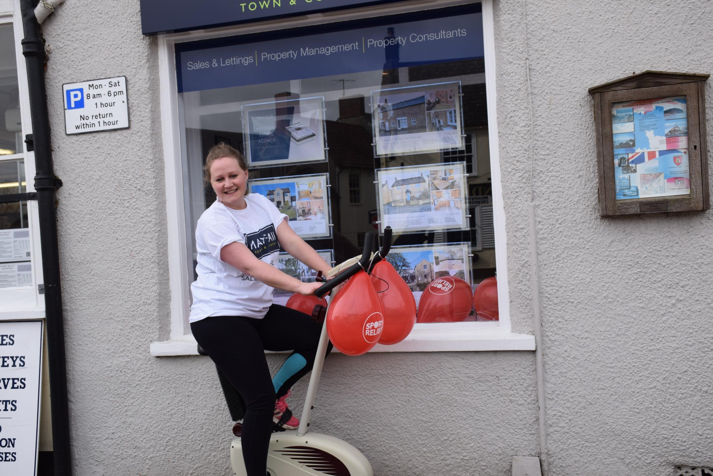 FUNDRAISING: Harriet outside the Beaminster office