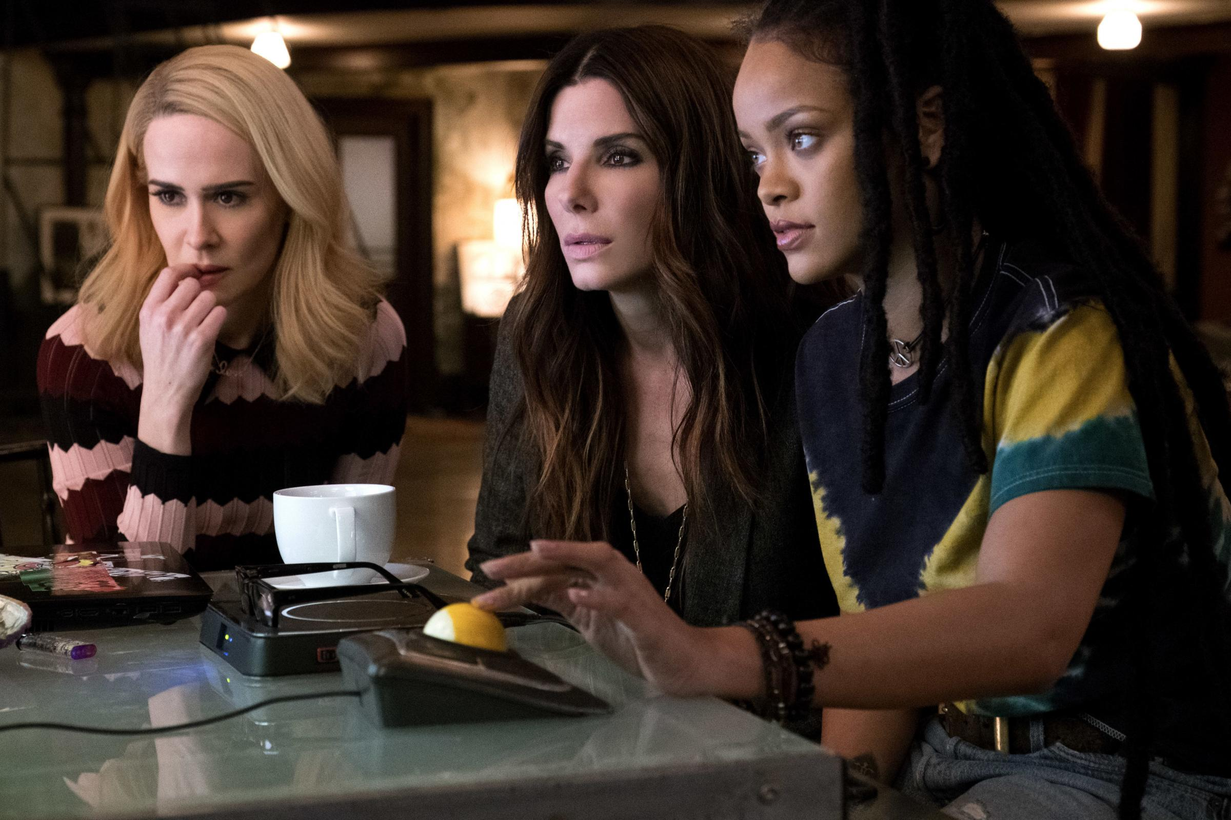 Undated film still handout from Ocean's 8. Pictured: Sarah Paulson as Tammy, Sandra Bullock as Debbie Ocean and Rihanna as Nine Ball. See PA Feature SHOWBIZ Film Reviews. Picture credit should read: PA Photo/Warner Bros. Entertainment