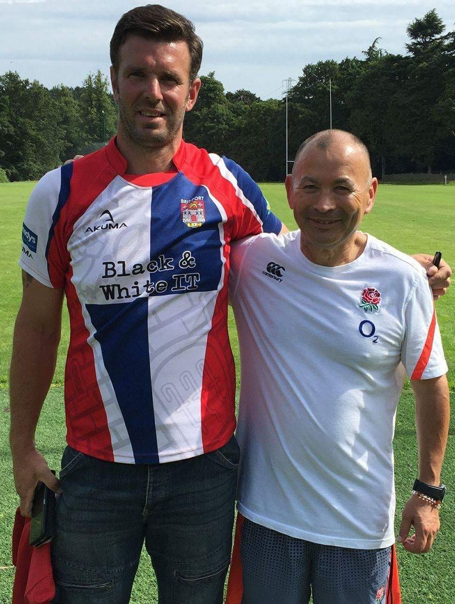 NEW COACH: Bridport's Lee Burdett, left, with England coach Eddie Jones