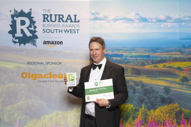 RUNNER UP: Clipper Teas were runner up in the Best Rural Manufacturing Business category at the regional Amazon Rural Business Awards, image of site director Andrew Stenton at the awards, Picture: RURAL BUSINESS AWARDS