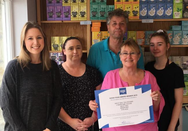 AWARD: The team at West Bay Tea Rooms (left to right) Francesca White, Sharon Miller, Peter Marks, Sue Marks and Jess Crabb.