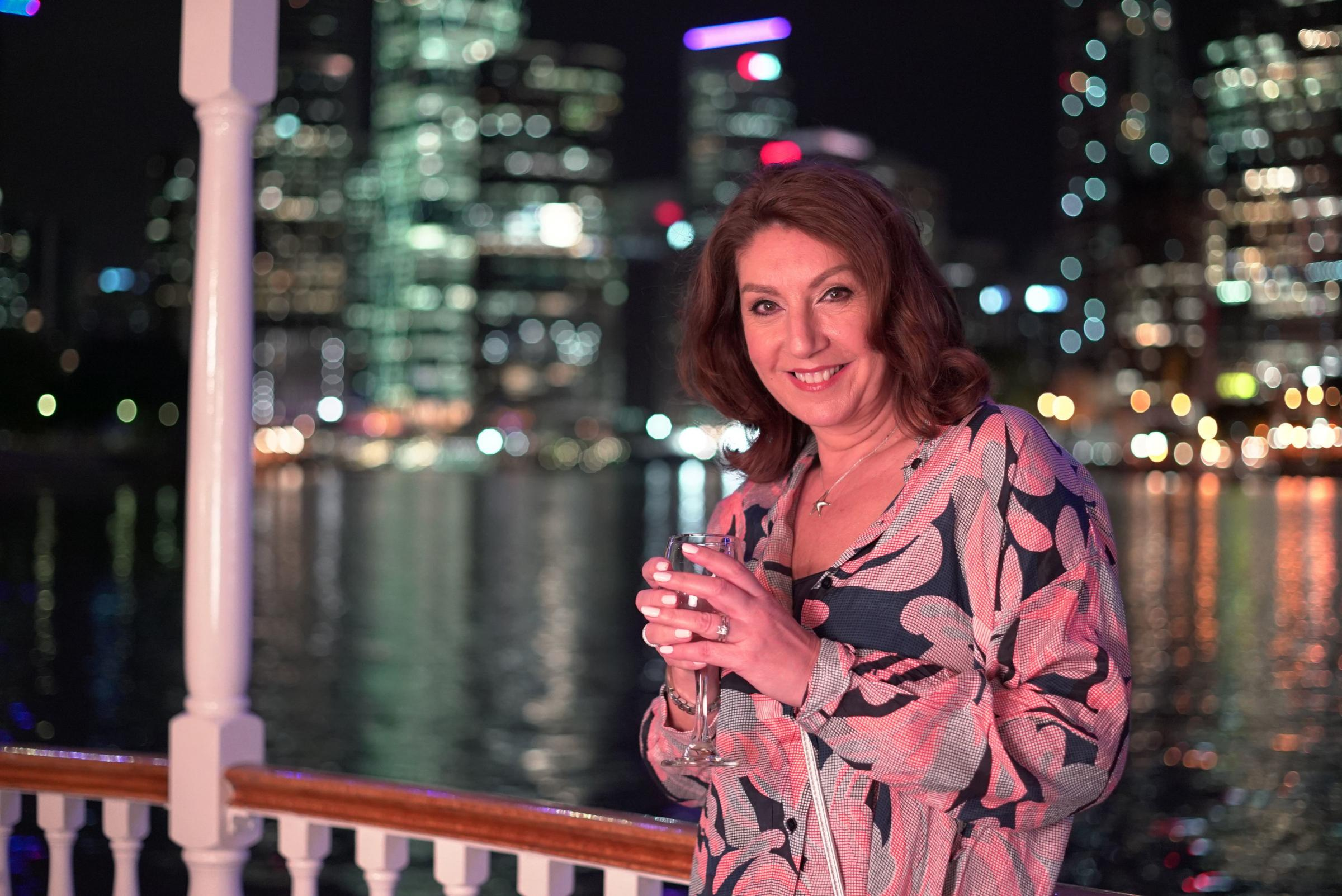 Undated Handout Photo from Jane McDonald Cruising Down Under. Pictured: Jane McDonald enjoys an evening ride on the Kookaburra Showboat along the Brisbane River. See PA Feature SHOWBIZ TV Quickfire McDonald. Picture credit should read: PA Photo/Channel 5/