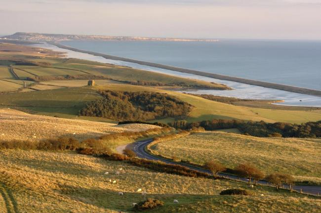 SCENIC ROUTE: The B3157 coast road is visible in the foreground of this view with St Catherine's Chapel and the Fleet beyond  					            Picture: GRAHAM HUNT/HG2916