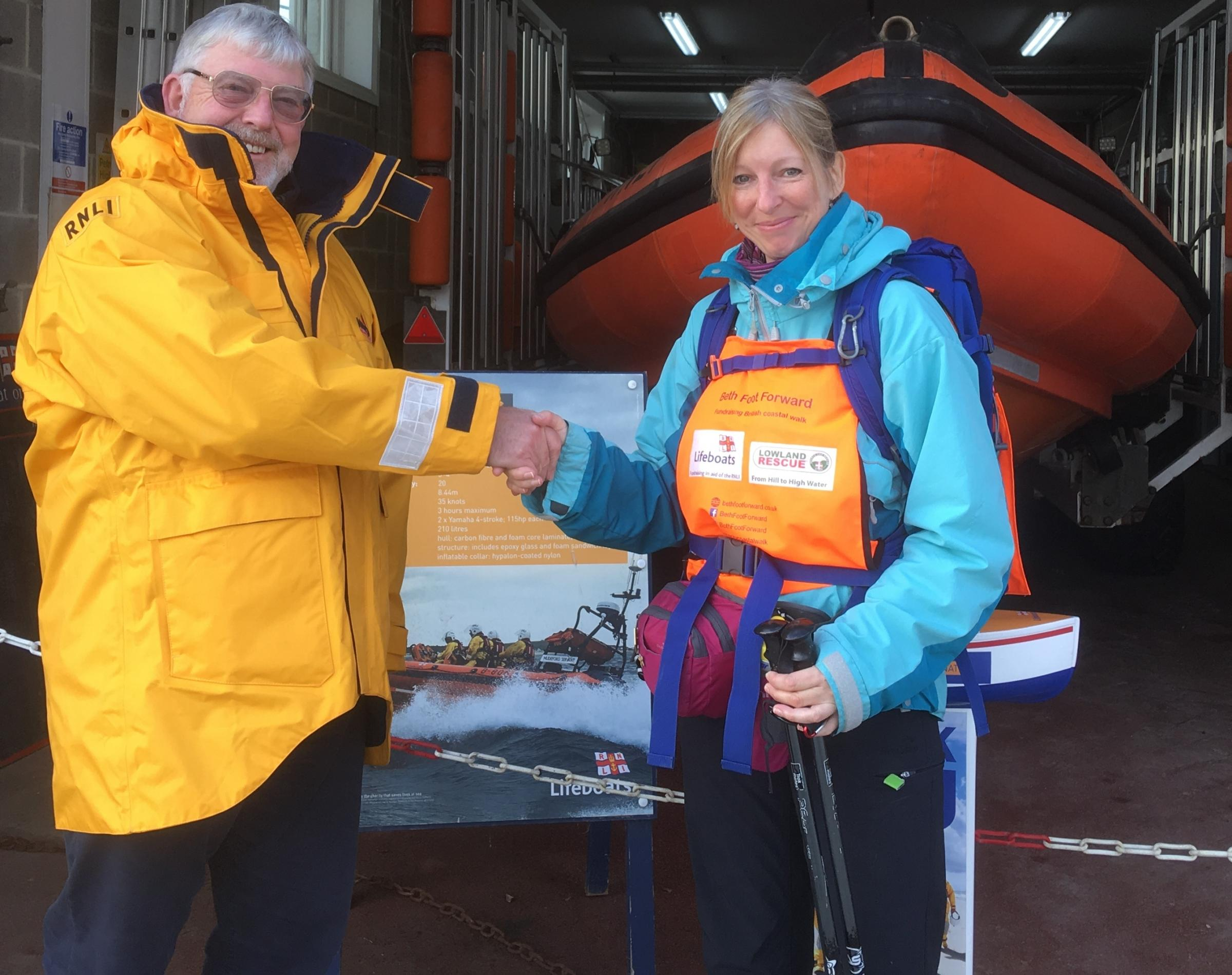 TREK: Walker Beth Wilkes was welcomed to Lyme Regis Lifeboat Stationby operations manager Nick Marks