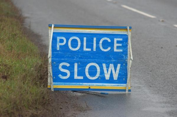 Police have closed a lane following a crash on the A35