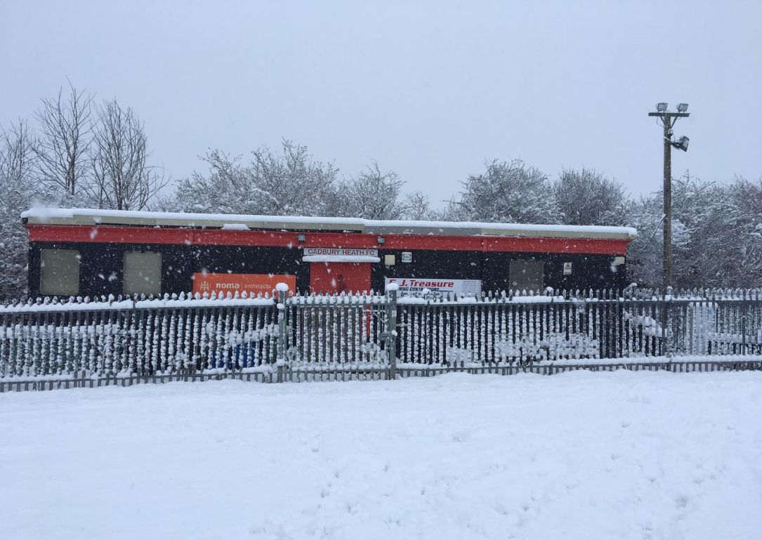 FRUSTRATION: Bridport's meeting at Cadbury Heath has been postponed due to the snowy conditions  Picture: CADBURY HEATH FC