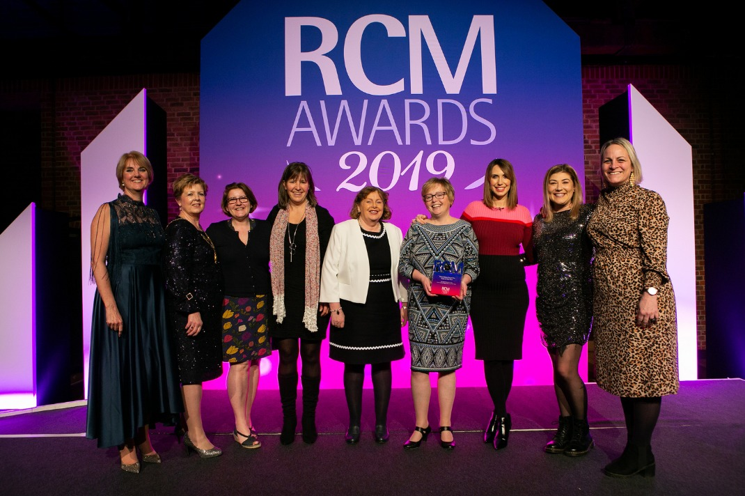 The Cygnet Homebirth Team at the RCM Awards ceremony in London, also pictured is Alex Jones from The One Show   Picture credit: Carmen Valino