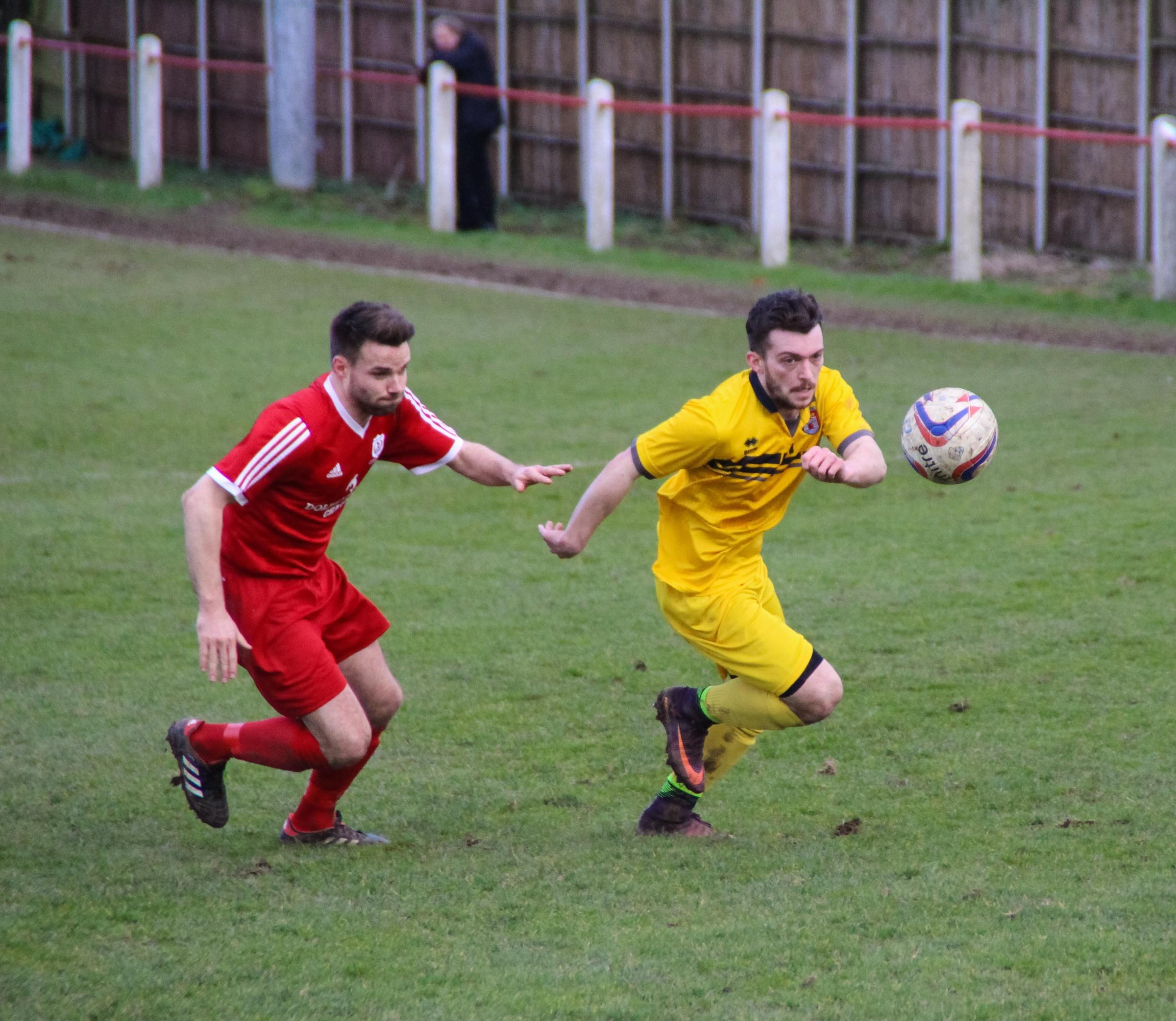 LIVELY: Bridport winger Ed Butcher, right, delivered an excellent display at Wimborne             Picture: LOIS BUTCHER