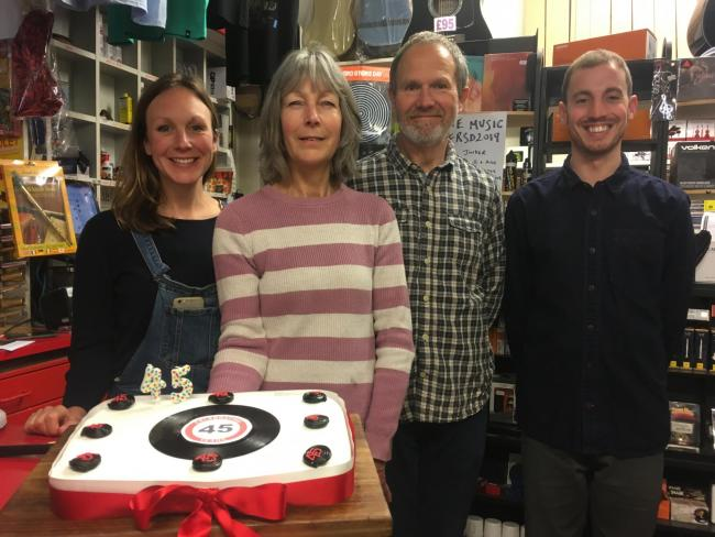 HAPPY BIRTHDAY: The team at Bridport Music celebrated 45 years on Record Store Day