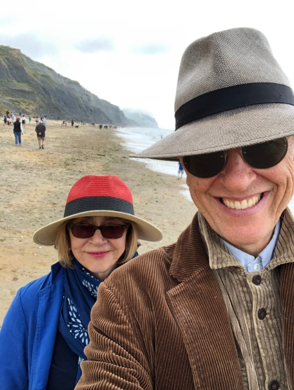 Famous actor Richard E Grant visits the Dorset coast with his wife