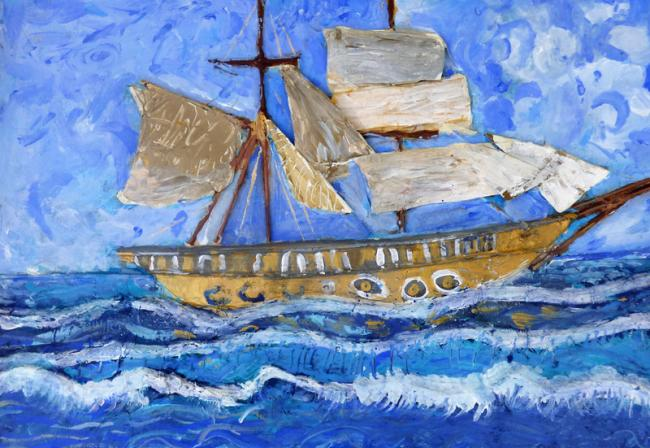 The history of shipbuilding in West Bay will be explored at a special exhibition; picture painted by children at West Bay Discovery Centre with artist Darrell Wakelam